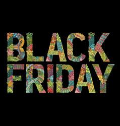 Word black friday decorative zentangle vector