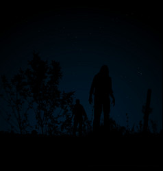 Zombie night under the stars vector