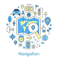 Navigation cartography thin line icons set vector