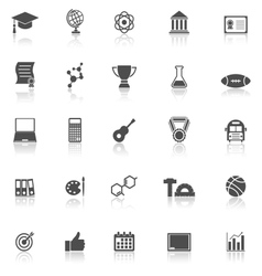 College icons with reflect on white background vector