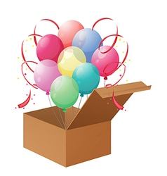 A box of balloons vector
