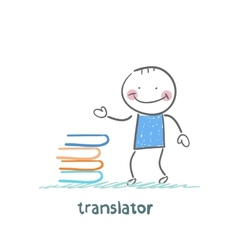 translator standing next to a stack of books vector image