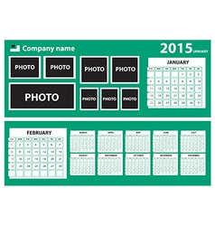 2015 Calendar with green background vector image