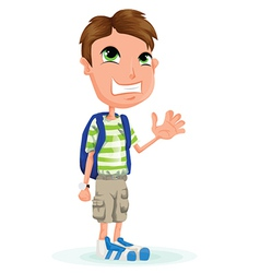 Small child with school bag vector