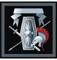 Shield sword helmet and spear vector