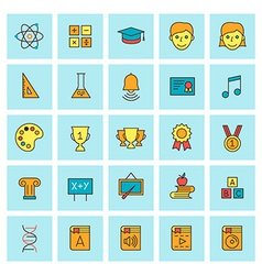 School and education icon set in flat design style vector