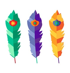 Set of three flat colorful feathers vector