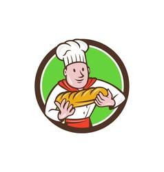 Baker holding bread loaf circle cartoon vector