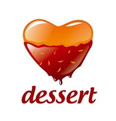 Logo heart shaped dessert with chocolate vector