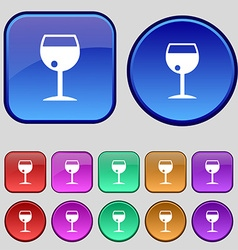 Glass of wine icon sign a set of twelve vintage vector