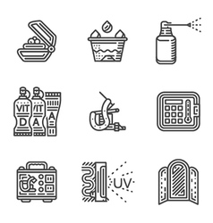 Tattoo procedure line icons vector