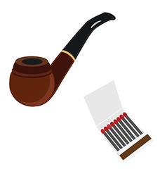 Smoking pipe and matcstick vector