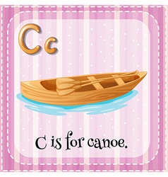 Flashcard letter c is for canoe vector