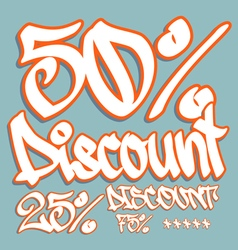 Discount graffiti 50 25 75 v vector