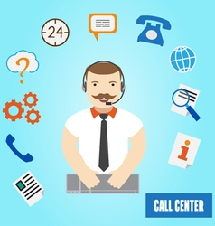 Call center operator for web and mobile 24h all th vector