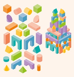 Colored building blocks for children vector image