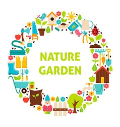 Flat Circle Set of Nature Garden Objects over vector image