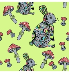 Seamless pattern with mushroom and bunny vector