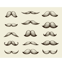 Hand drawn collection of mustache vector