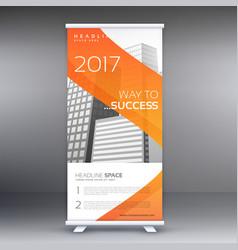 Abstract orange roll up banner standee design vector