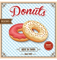 Donut retro poster vector image