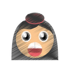 Drawing girl surprise emoticon image vector