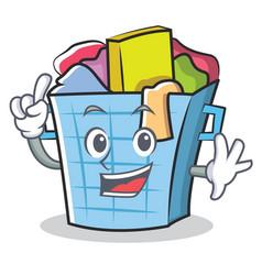 Finger laundry basket character cartoon vector