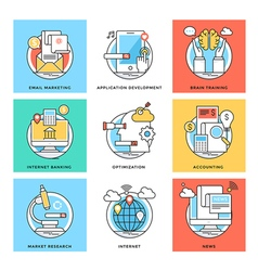 Flat color line design concepts icons 6 vector