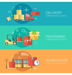 Flat design concepts for warehouse packing vector image vector image