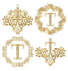 Golden T letter vintage monograms set Heraldic vector image