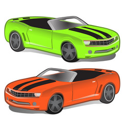 Green and orange sport car without top vector