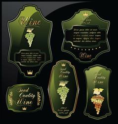 green wine labels on black background vector image