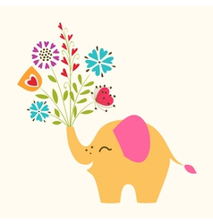 Happy little elephant vector