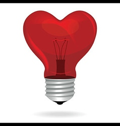 Heart love light bulb isolated object vector image