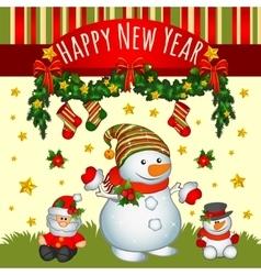 Holiday card with Santa and two snowmens vector image vector image