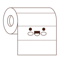 kawaii roll paper towel in brown silhouette vector image vector image