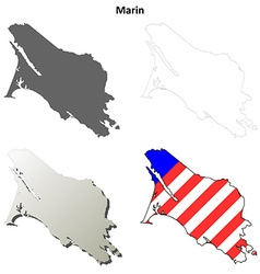 Marin county california outline map set vector