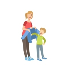 Mother and child preparing for walk together vector