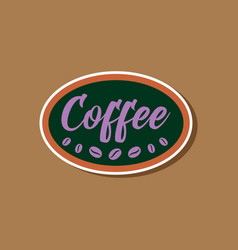 Paper sticker on stylish background coffee logo vector