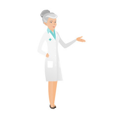 Senior doctor with arm out in a welcoming gesture vector