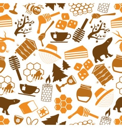 set of honey icons seamless pattern eps10 vector image
