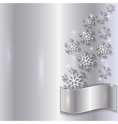 Silver invitation card with snowflakes vector