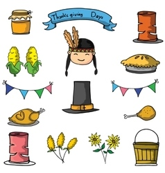 Thanksgiving object set on doodles vector
