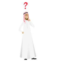 Thinking businessman with question mark vector