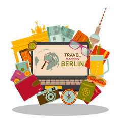 Travel planning to berlin flat concept vector
