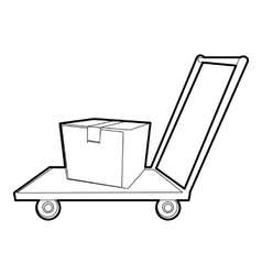 Warehouse trolley icon outline style vector