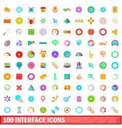 100 interface icons set cartoon style vector image vector image