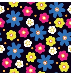 Seamless with bright flowers vector