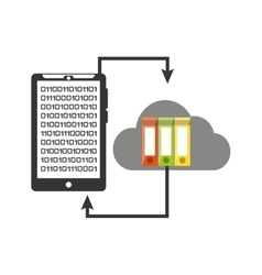 Smartphone transfer cloud data folder document vector