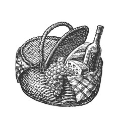Vintage wicker picnic hamper or basket with food vector